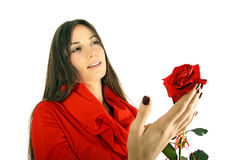 Girl with red rose isolated on white Stock Photography