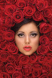 Girl In Red roses. A background with a portrait of a girls face surrounded by roses stock photography