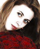 Girl with red roses Royalty Free Stock Images