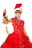 Girl in red santa hat. Royalty Free Stock Photography