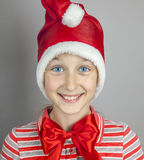 Girl in red santa hat. Little girl in red santa hat Royalty Free Stock Image