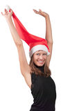 The girl in a red Santa's cap Royalty Free Stock Photo