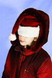 Girl in red santa's hat. Isolated Royalty Free Stock Image