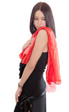 Girl with a red scarf Stock Photo