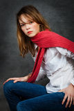 Girl with a red scarf Stock Photography