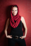Girl in red scarf Stock Photo