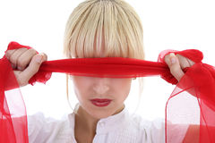Girl with red shawl Royalty Free Stock Photo