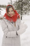 A girl in a red shawl Royalty Free Stock Photography