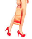 Girl with red shopping bag Stock Photo