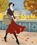 Girl in red skirt. Beautiful young woman walking along embankment in autumn city. Vector illustration Royalty Free Stock Photography