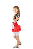 The girl in the red skirt. And striped blouse Royalty Free Stock Image