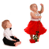 Girl red skirt dance rose and  boy gentleman love, Valentine's D Royalty Free Stock Photo