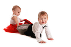 Girl red skirt hat and  boy hat, love, Valentine's Day Stock Photography