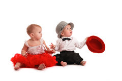Girl red skirt hat and  boy hat, love, Valentine's Day Stock Photos