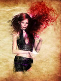 Girl with red smoke Royalty Free Stock Photos