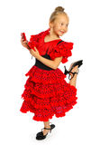 The girl in a red Spanish dress (series) Royalty Free Stock Image