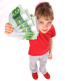 Girl in red sport t-shirt with money. Angle Royalty Free Stock Images
