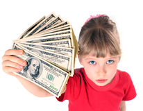 Girl in red sport t-shirt with money. Stock Photo