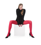 The girl in red stockings Royalty Free Stock Image