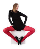 The girl in red stockings Stock Image
