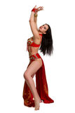 Girl in a red suit oriental dance Royalty Free Stock Photos