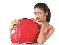 Girl with red suitcase Royalty Free Stock Images