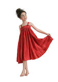 Girl in a red sundress Royalty Free Stock Images