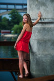 Girl in a red sundress Stock Photo
