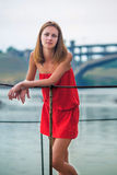Girl in a red sundress Royalty Free Stock Photography