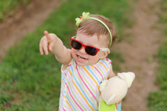Girl in Red Sunglasses Royalty Free Stock Image