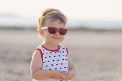 Girl in Red Sunglasses Royalty Free Stock Images