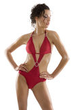 Girl with red swimsuit Royalty Free Stock Images