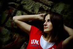 Girl in red t-shirt Royalty Free Stock Photography