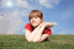 Girl in a red T-shirt Royalty Free Stock Photo