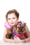 Girl  in red with two yorkshire terriers on white Stock Photo