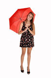 Girl with red umbrella. royalty free stock photos