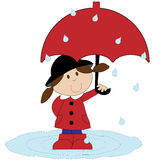 Girl With Red Umbrella vector illustration