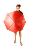 Girl with red umbrella. Stock Images