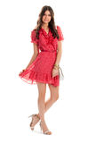 Girl in red v-neck dress. Royalty Free Stock Photos