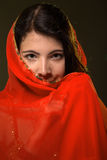 Girl in red veil Stock Images