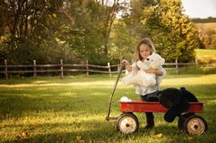 Girl with red wagon of stuffed bear toys Stock Photo