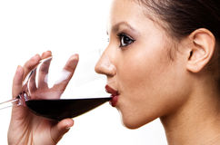 Girl with the red wine stock image