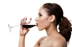 Girl with red wine Royalty Free Stock Photos