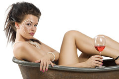Girl with red wine Stock Image