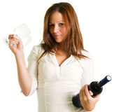 Girl and red wine Royalty Free Stock Images