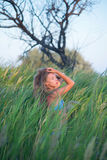 The girl in the reeds Royalty Free Stock Images