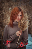 The girl in the reeds Royalty Free Stock Photos