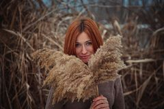 The girl in the reeds Stock Photos