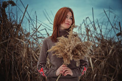 The girl in the reeds Royalty Free Stock Photography