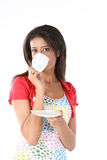 Girl with refreshing cup of coffee Stock Images